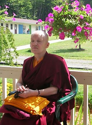 Palyul Retreat -- Ordination Day -- Ani Isha Meditating -- WS