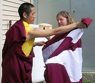 Palyul Retreat -- Dorje Helping Jennifer with Zen -- WS