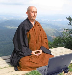 Monk and laptop