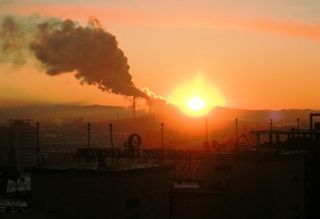 UB -- Sunset Behind Power Plant -- WS