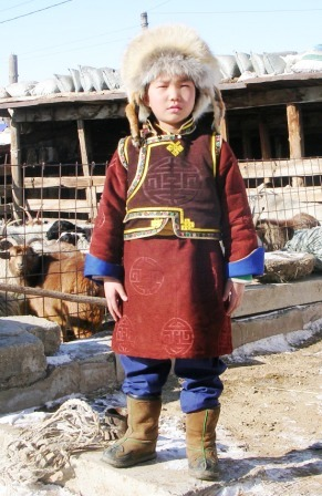Mongolia -- Tsagaan Sar 2009 -- Mongol Boy with Big Hat -- WS
