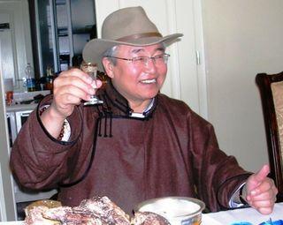 Tsagaan Sar 2009 -- Erka's -- Sharvaa Giving Toast -- WS
