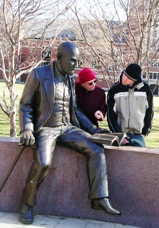 Clark -- Me and George with Freud Statue -- WS