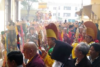 HH Penor Rinpoche Ceremony -- Procession with sad faces