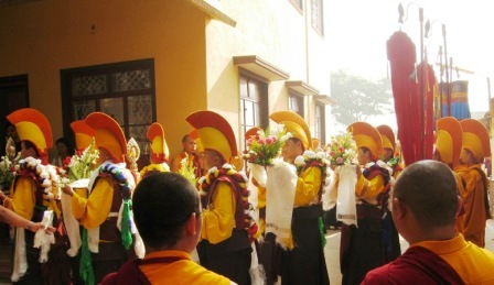 HH Penor Rinpoche Ceremony -- Procession with flowers banners