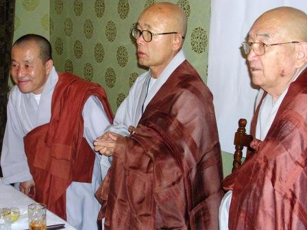 Here are the three Korean monks who were seated at the head table.