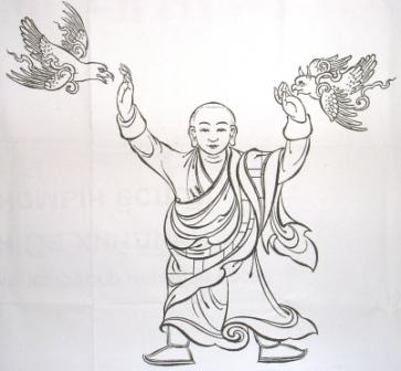 Purevbat_drawing_monk_and_birds_standing
